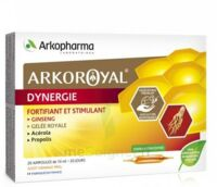 Arkoroyal Dynergie Ginseng Gelée royale Propolis Solution buvable 20 Ampoules/10ml à  JOUÉ-LÈS-TOURS